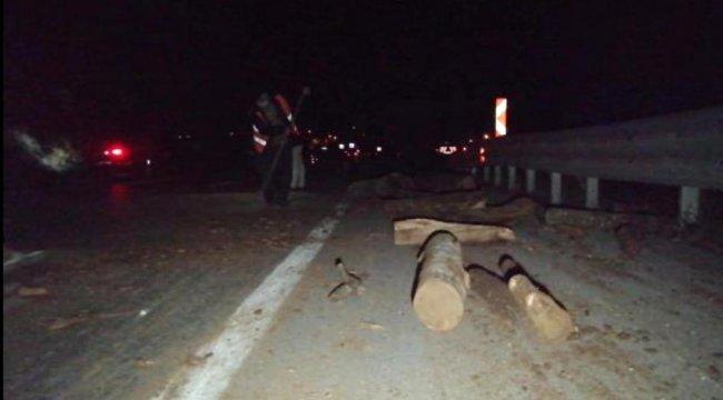 Kamyondan düşen odunlar 2 otomobile hasar verdi
