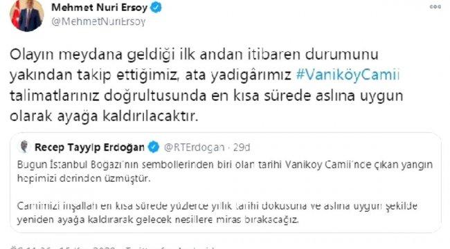 Son dakika... Bakan Ersoy: Vaniköy Camii en kısa sürede ayağa kaldırılacaktır