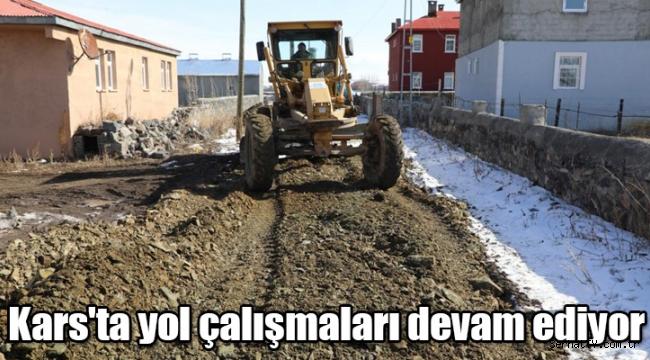 Kars'ta yol çalışmaları devam ediyor