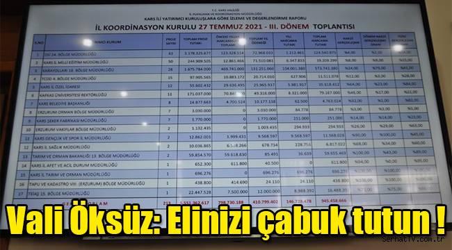 Vali Öksüz'den yatırımcı kuruluşlara elinizi çabuk tutun talimatı